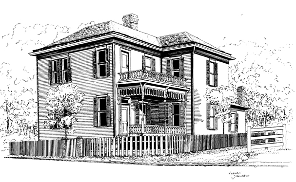 Drawing of the historic Blind Boone Home