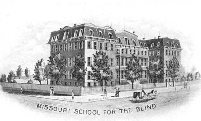 Drawing of the Missouri School for the Blind in St. Louis, MO