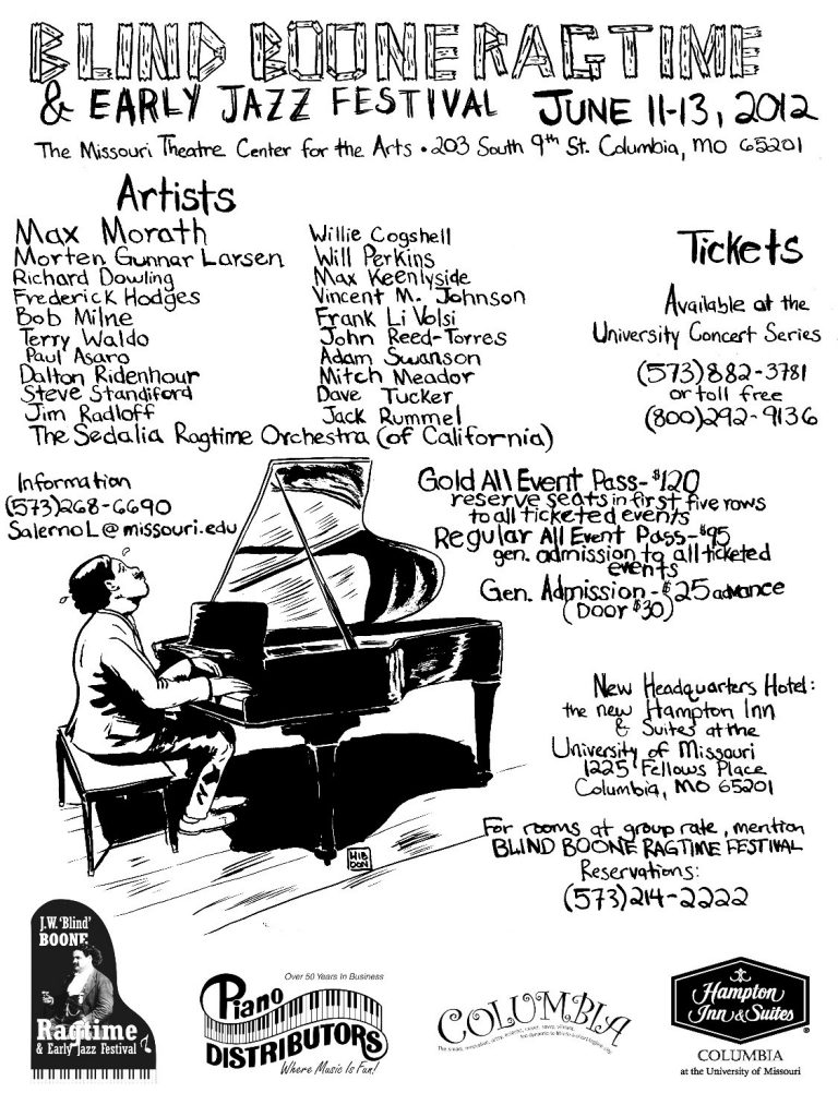 Blind Boone Ragtime and Early Jazz Festival Poster